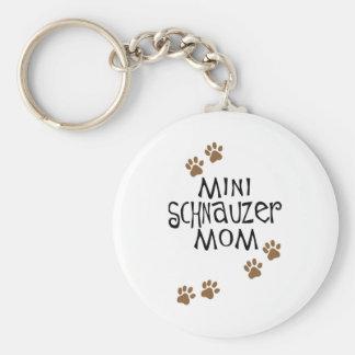 Miniature Schnauzer Mom Basic Round Button Keychain