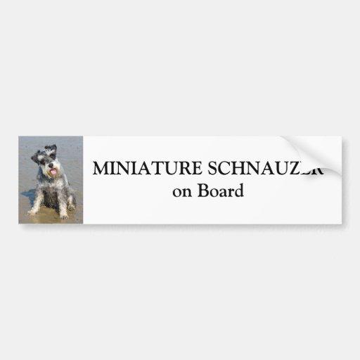 Miniature Schnauzer on board custom Car Bumper Sticker