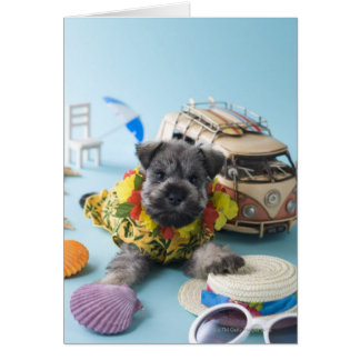 Miniature Schnauzer Puppy and Summer Vacation Card