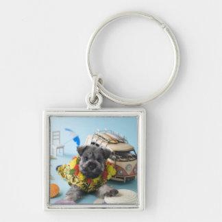 Miniature Schnauzer Puppy and Summer Vacation Keychain