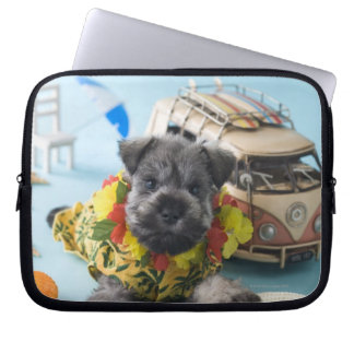 Miniature Schnauzer Puppy and Summer Vacation Laptop Sleeve