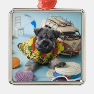 Miniature Schnauzer Puppy and Summer Vacation Metal Ornament