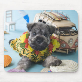 Miniature Schnauzer Puppy and Summer Vacation Mouse Pad