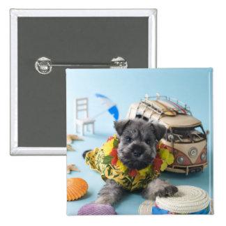 Miniature Schnauzer Puppy and Summer Vacation Pinback Button