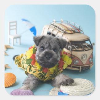 Miniature Schnauzer Puppy and Summer Vacation Square Sticker