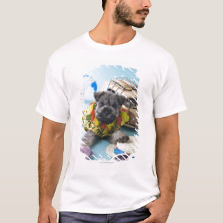 Miniature Schnauzer Puppy and Summer Vacation T-Shirt