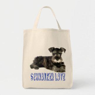 Miniature Schnauzer Puppy Dog Love Blue Tote