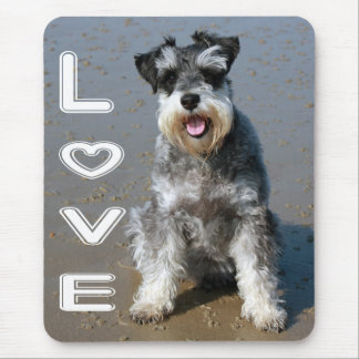 Miniature Schnauzer Puppy Dog Love Heart Mouse Pad