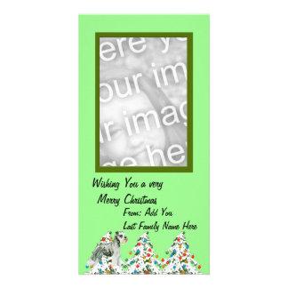Miniature Schnauzer - Turquoise Floral Design Card