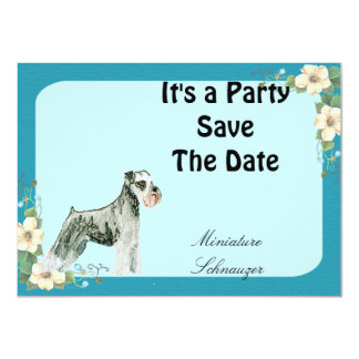 Miniature Schnauzer - Turquoise Floral Design Personalized Invitations