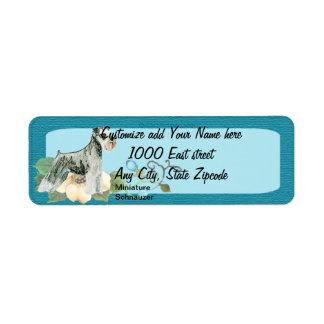 Miniature Schnauzer - Turquoise Floral Design Label