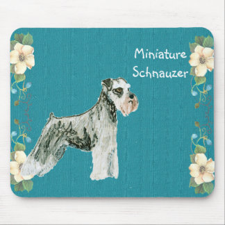 Miniature Schnauzer - Turquoise Floral Design Mouse Pads
