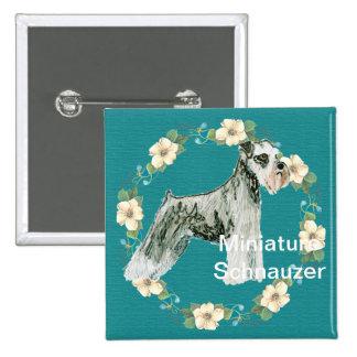 Miniature Schnauzer - Turquoise Floral Design Pinback Button