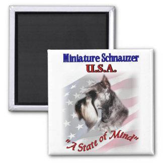 Miniature Schnauzer USA 2 Inch Square Magnet