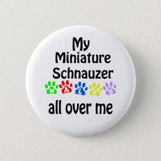 Miniature Schnauzer Walks Design Button