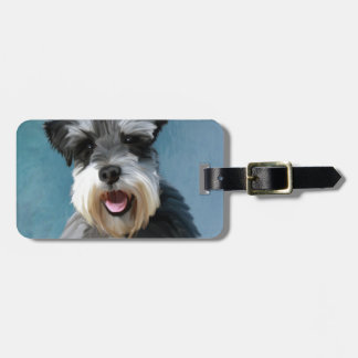 Miniature Schnauzer Water Color Art Painting Bag Tag
