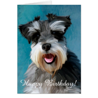 Miniature Schnauzer Water Color Art Painting Card
