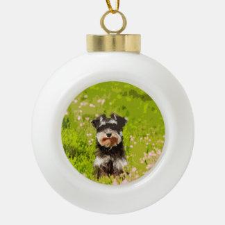 Miniature Schnauzer Water Color Art Painting Ceramic Ball Christmas Ornament