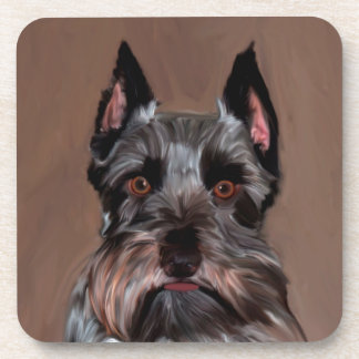 Miniature Schnauzer Water Color Art Painting Drink Coaster