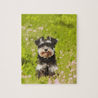Miniature Schnauzer Water Color Art Painting Jigsaw Puzzle