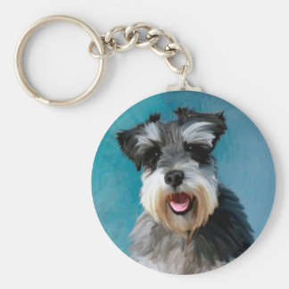 Miniature Schnauzer Water Color Art Painting Keychain
