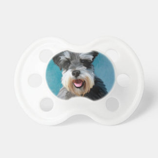 Miniature Schnauzer Water Color Art Painting Pacifier