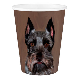 Miniature Schnauzer Water Color Art Painting Paper Cup