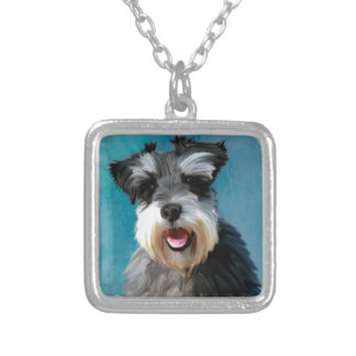 Miniature Schnauzer Water Color Art Painting Silver Plated Necklace