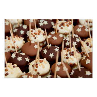 Miniature star-covered chocolate cakes poster