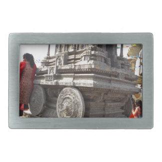 Miniature statues stone craft temples of india rectangular belt buckle