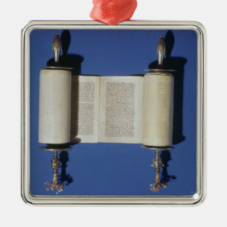 Miniature Torah Scroll, 1765 Metal Ornament