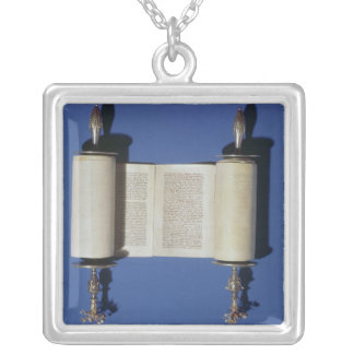 Miniature Torah Scroll, 1765 Silver Plated Necklace
