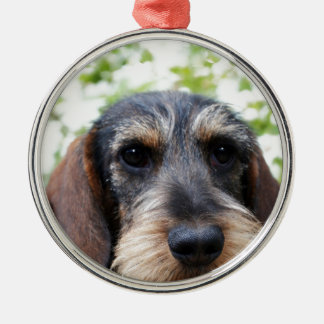 Miniature Wire Haired Dachshund Metal Ornament