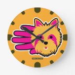 Hand shaped Miniature Yorkshire Terrier Round Clock