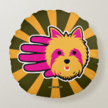 Hand shaped Miniature Yorkshire Terrier Round Pillow