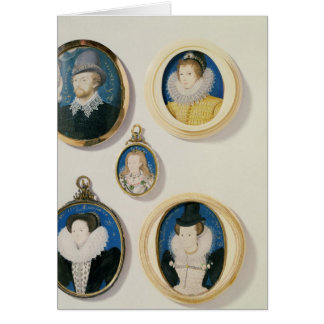 Miniatures, from L to R, T to B: Man with a Hand f Card