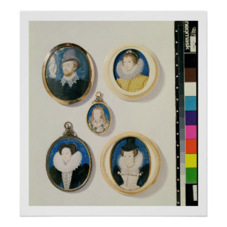 Miniatures, from L to R, T to B: Man with a Hand f Poster
