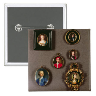 Miniatures from LtoR, TtoB: Frances Teresa Stuart, 2 Inch Square Button