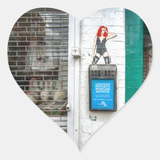 Minicab graffiti girl heart sticker