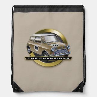 MiniCooper S gold Drawstring Backpack