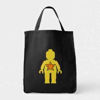 Minifig amarillo con personalizar mi logotipo de M Bolsa Tela Para La Compra