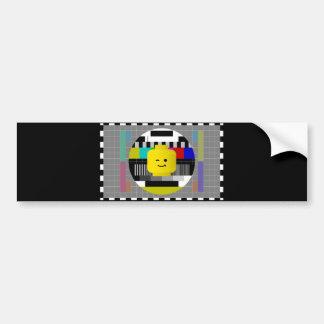 Minifig Head TV Test Transmission Bumper Sticker