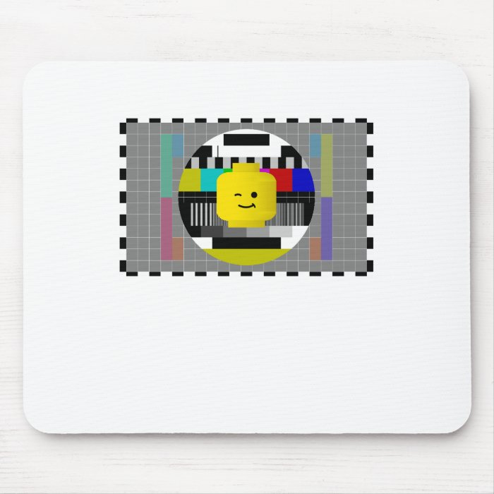 Minifig Head TV Test Transmission Mouse Pad