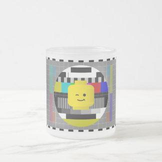 Minifig Head TV Test Transmission Frosted Glass Mug