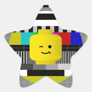 Minifig Head TV Test Transmission Star Sticker