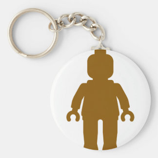 Minifig [Large Brown] by Customize My Minifig Basic Round Button Keychain