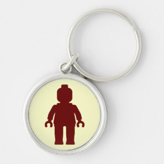 Minifig [Large Dark Red] by Customize My Minifig Silver-Colored Round Keychain