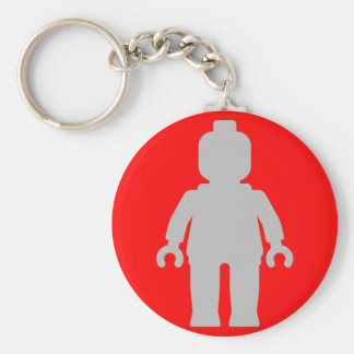 Minifig [Large Light Grey] by Customize My Minifig Basic Round Button Keychain