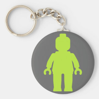 Minifig [Large Lime Green] by Customize My Minifig Basic Round Button Keychain