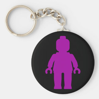 Minifig [Large Purple] by Customize My Minifig Basic Round Button Keychain
